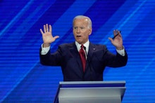 Democratic presidential candidate former Vice President Joe Biden answers a question, during a Democ...