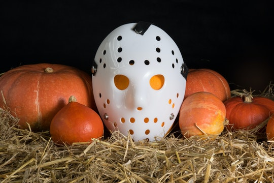 Halloween decoration with pumpkins and mask Janson