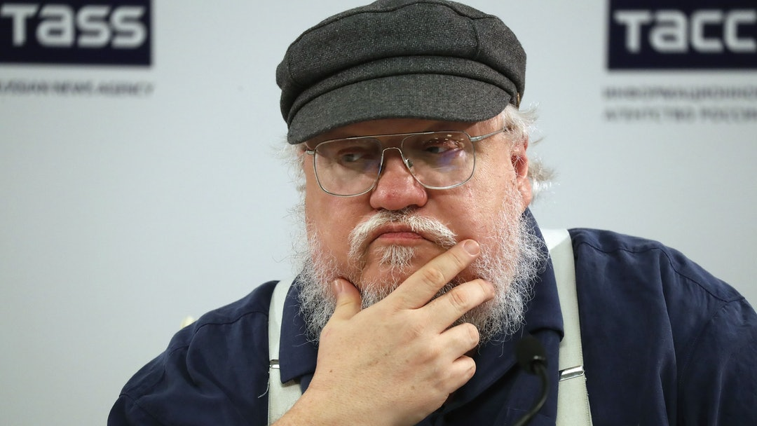 US writer George R.R. Martin attends a news conference in St.Petersburg, Russia, 16 August 2017. The author of 'Song of Ice and Fire' series of fantasy novels, which inspired HBO series 'Games of Thrones', visits to take part in St.Petersburg Fantastic Assembly. The event runs from 18 to 21 August.