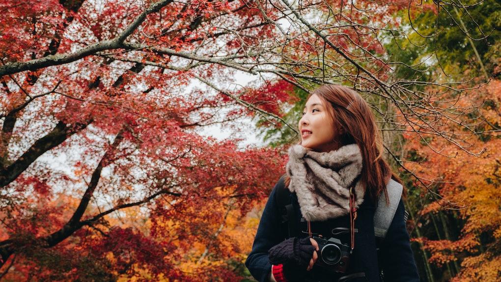 Outdoors lifestyle fashion portrait of pretty young woman on the autumn park in Enkoji Temple, Kyoto, Japan. Autumn season japan.