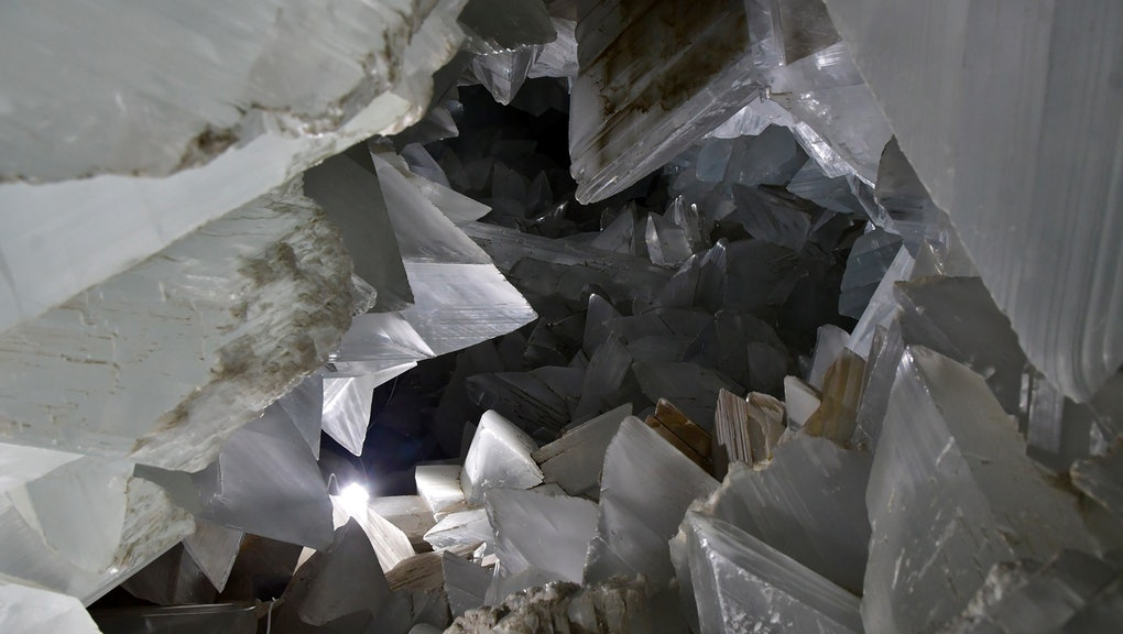 A general view of the geode found inside Mina Rica mine, in the village of Pulpi, Almeria, southern Spain, 04 August 2019. The mine has Europe's biggest geode and is the world's second after the one in the Mexican state of Chihuahua. The mine, opening to the public on 05 August, will allow visitors to see the geode of gypsum crystals, found in 1999, measuring eight meters long, 1.7 meters wide and 1.8 meters high.