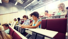 education, high school, university, learning and people concept - group of international students wi...