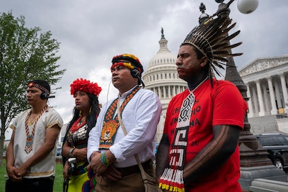 JSA. Indigenous people of the Americas listen at a Senate Climate Change Task Force news conference ...