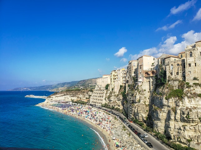 View of Tropea beach in italy.