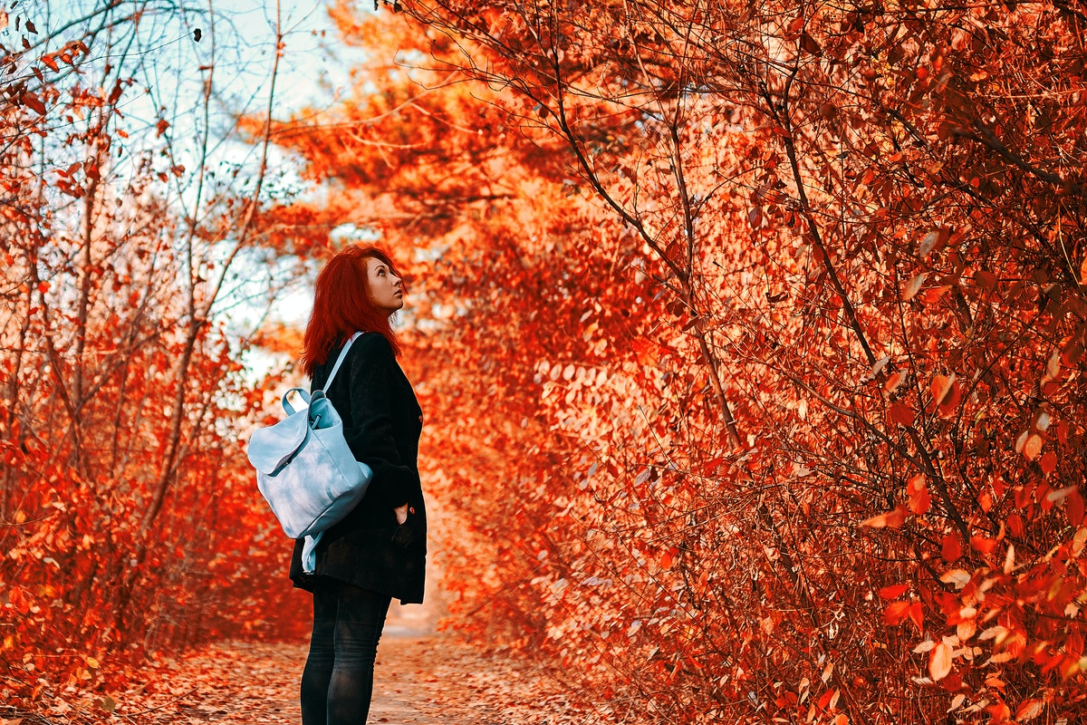 Red-haired woman with blue backpack walks in the forest in autumn.