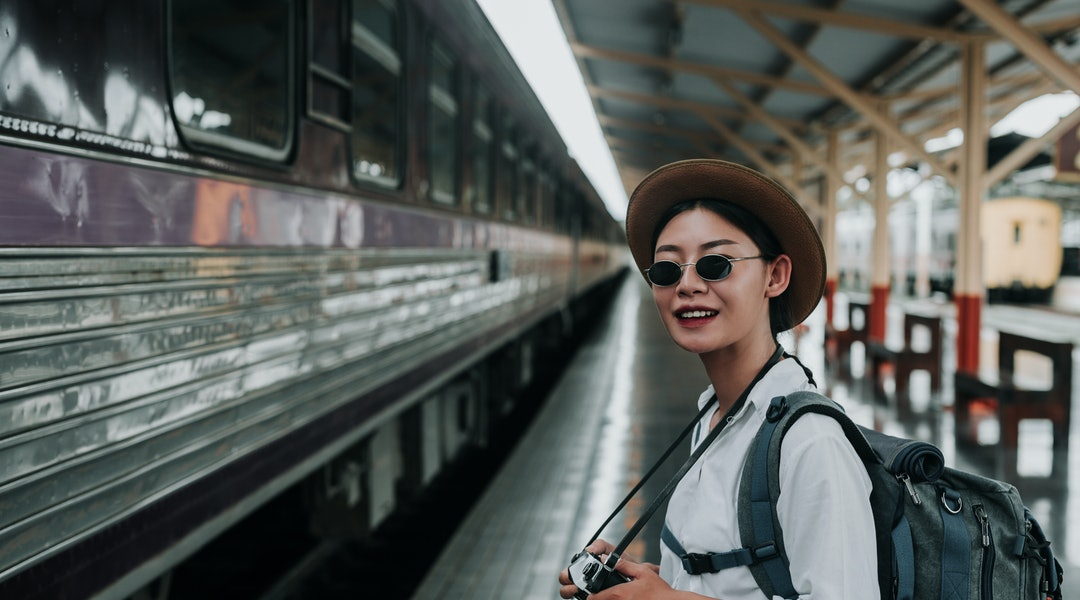 Happy women traveling on the train, vacation, travel ideas.