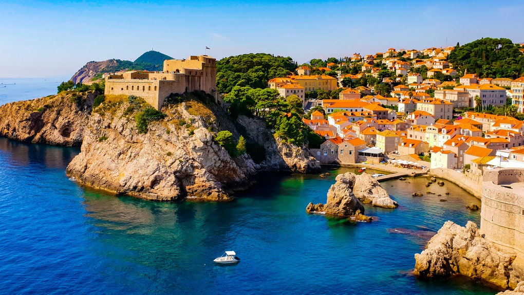 Amazing view on the Adriatic sea from the fortress walls of Dubrovnik, Croatia, with its historical old town, on a sunny summer day