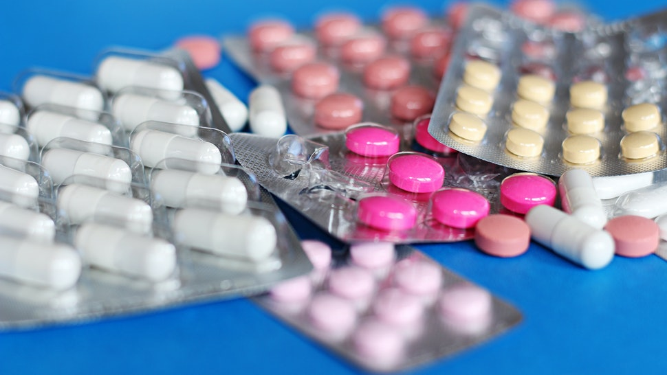 Pills and another drugs for illegal doping manipulations. Pharmacy antibiotic and antidepressant.