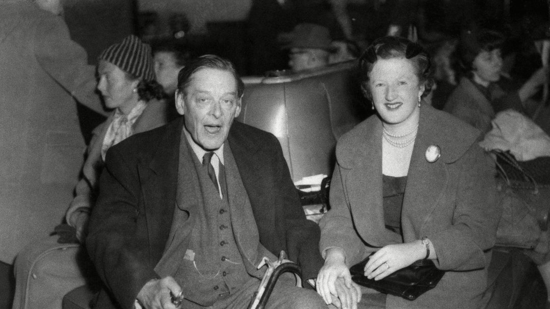 T.S. Eliot 1959 Writer Thomas Stearns Eliot and his wife, Valerie Eliot at Southampton, England,, on board the liner Queen Mary, from New York