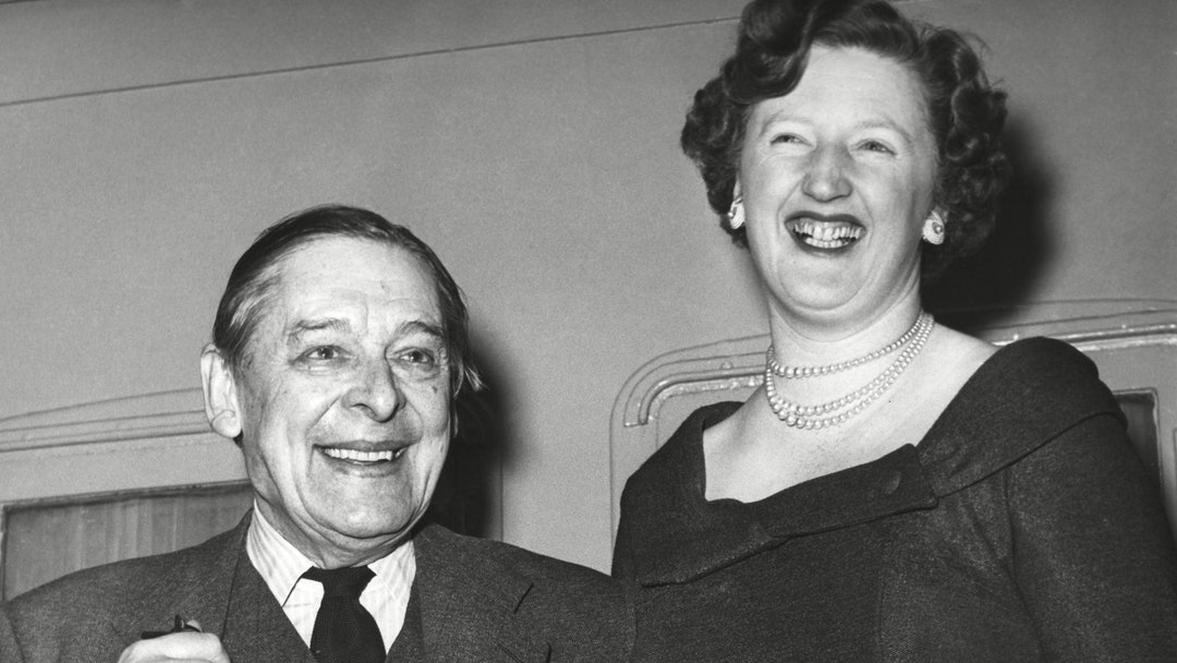 Poet Thomas Stearns Eliot with wife Valerie in New York en route to a vacation in Nassau around