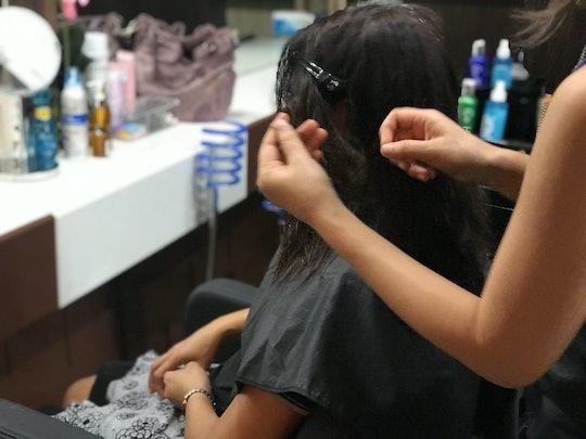 female in hair salon.