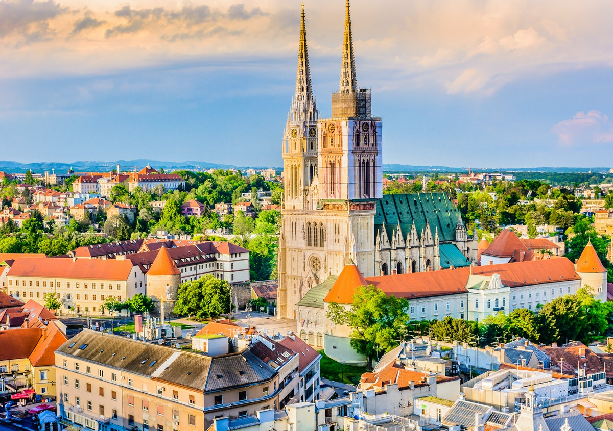 Aerial view on cathedral in Zagreb city, capital town of Croatia, european landmarks. / Zagreb cathe...