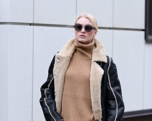 Street style fashion. Professional model, stylish look.