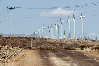 A general view shows Africa's largest wind power plant project on its opening day in Marsabit County...