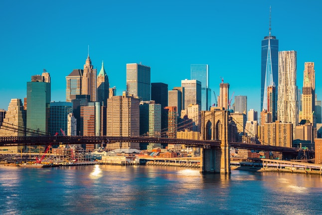 Skyline of downtown New York, Brooklyn Bridge and  Manhattan at the morning light , New York City, USA