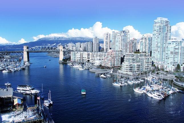 View of false creek and the Burrard street bridge in Vancouver, Canada.