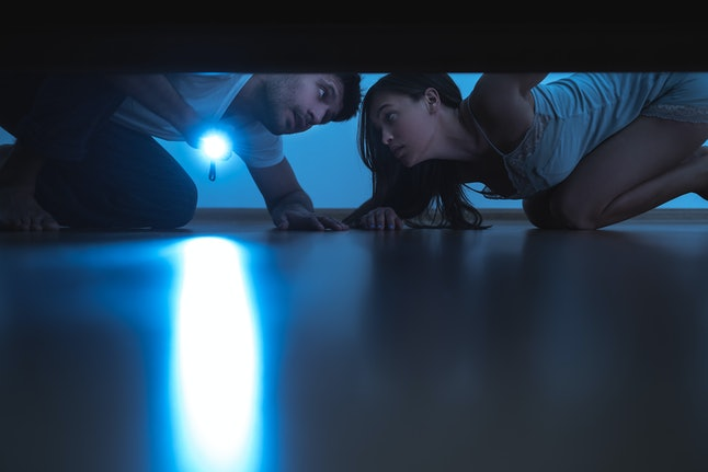 The man and a woman with a flashlight looking under the bed. evening night time