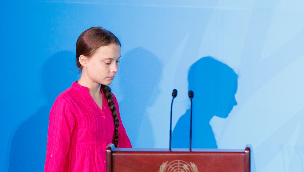 Greta Thunberg, the 16-years-old climate activist from Sweden, arrives to address world leaders at the 2019 Climate Action Summit which is being held ahead of the General Debate of the General Assembly of the United Nations at United Nations Headquarters in New York, New York, USA, 23 September 2019. World Leaders have been invited to speak at the event, which was organized by the United Nations Secretary-General Antonio Guterres, for the purpose of proposing plans for addressing global climate change. The General Debate of the 74th session of the UN General Assembly begins on 24 September.