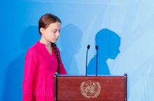 Greta Thunberg, the 16-years-old climate activist from Sweden, arrives to address world leaders at t...