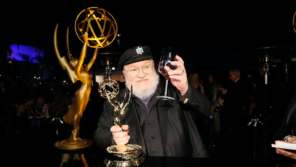 """George R. R. Martin, winner of the award for outstanding drama series for """"Game of Thrones"""" attends the Governors Ball winners circle at the 70th Primetime Emmy Awards, at the Microsoft Theater in Los Angeles"""