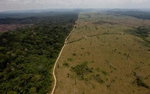 A deforested area near Novo Progresso in Brazil's northern state of Para. Brazil detained a land-gra...