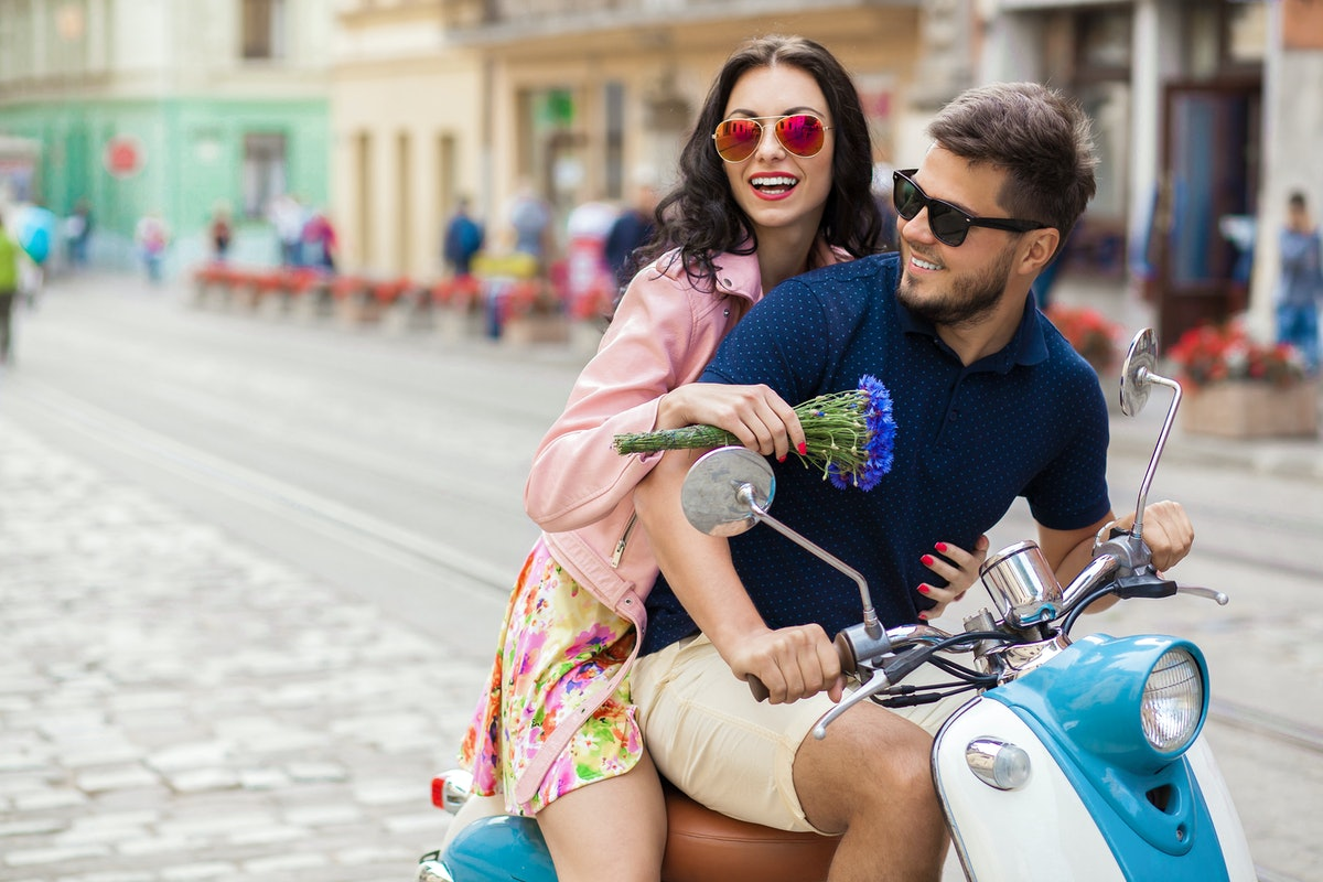 A woman feeling in sync with her boyfriend.
