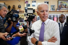Former Vice President Joe Biden speaks to the media during a campaign stop with Democratic gubernato...