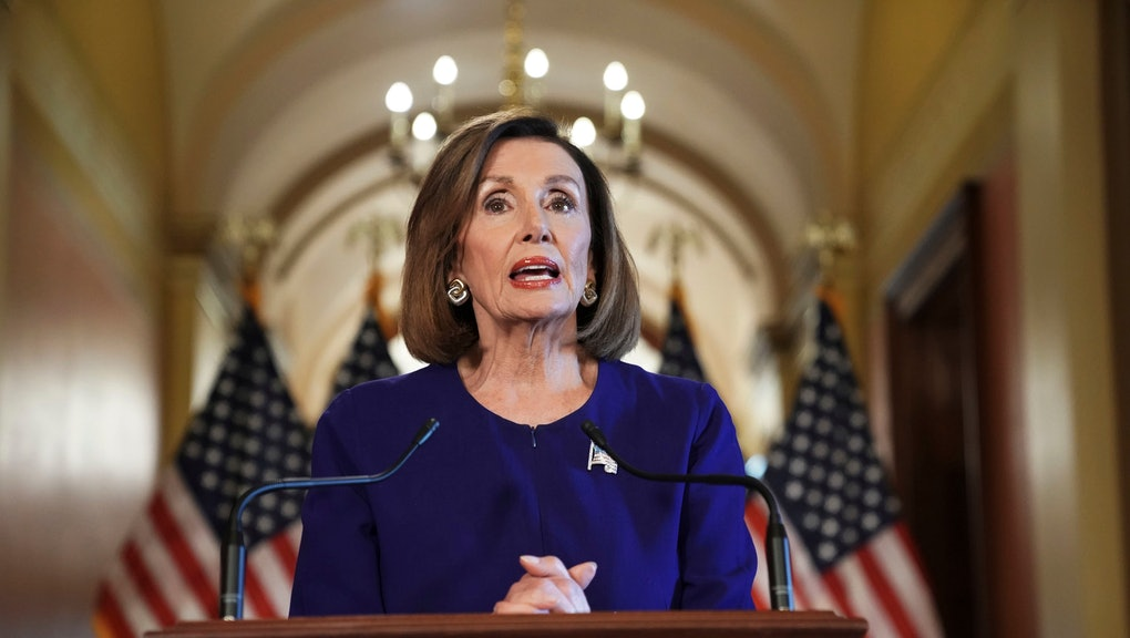 House Speaker Nancy Pelosi of Calif., reads a statement announcing a formal impeachment inquiry into President Donald Trump, on Capitol Hill in Washington