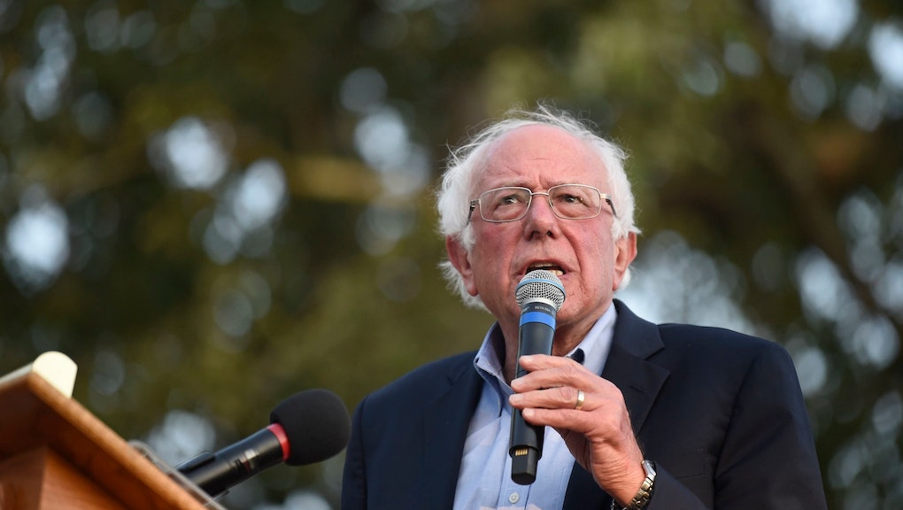 Democratic presidential contender U.S. Sen. Bernie Sanders, from Vermont, addresses a crowd at Winthrop University as part of his college campus tour, in Rock Hill, S.C