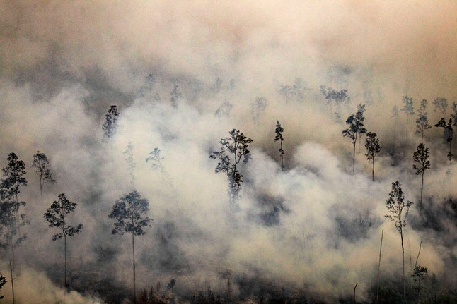An aerial view of a burning forest in  Kapuas Hilir, Central Kalimantan, Indonesia, 21 September 2019. According to media reports, firefighters, military personnel and water-bombing helicopters deployed to douse the land fires in Sumatra and Borneo that caused thick haze in the neighboring countries, Singapore and Malaysia.