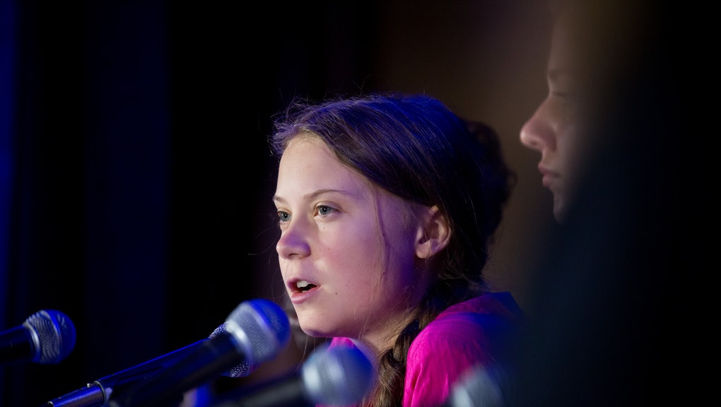 Greta Thunberg speaks as she and 15 other children from across the world present an official human rights complaint on the climate crisis, which is targeted at five of the world's leading economic powers, to the United Nations Committee on the Rights of the Child at UNICEF House in New York, New York, USA, 23 September 2019. A group of 16 children from 12 countries filed an official complaint to the United Nations Committee on the Rights of the Child to protest lack of government action on the climate crisis.