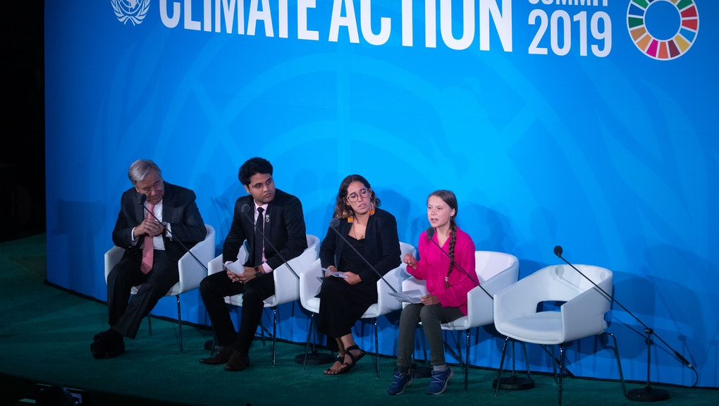 Greta Thunberg (R), a 16-years-old climate activist from Sweden, addresses world leaders at the start of the 2019 Climate Action Summi,t which is being held in advance of the General Debate of the General Assembly of the United Nations, at United Nations headquarters in New York, USA, 23 September 2019. World Leaders have been invited to speak at the event, which was organized by the United Nations Secretary-General Antonio Guterres, for the purpose of proposing plans for addressing global climate change.