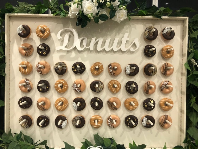 Donuts on a wall.