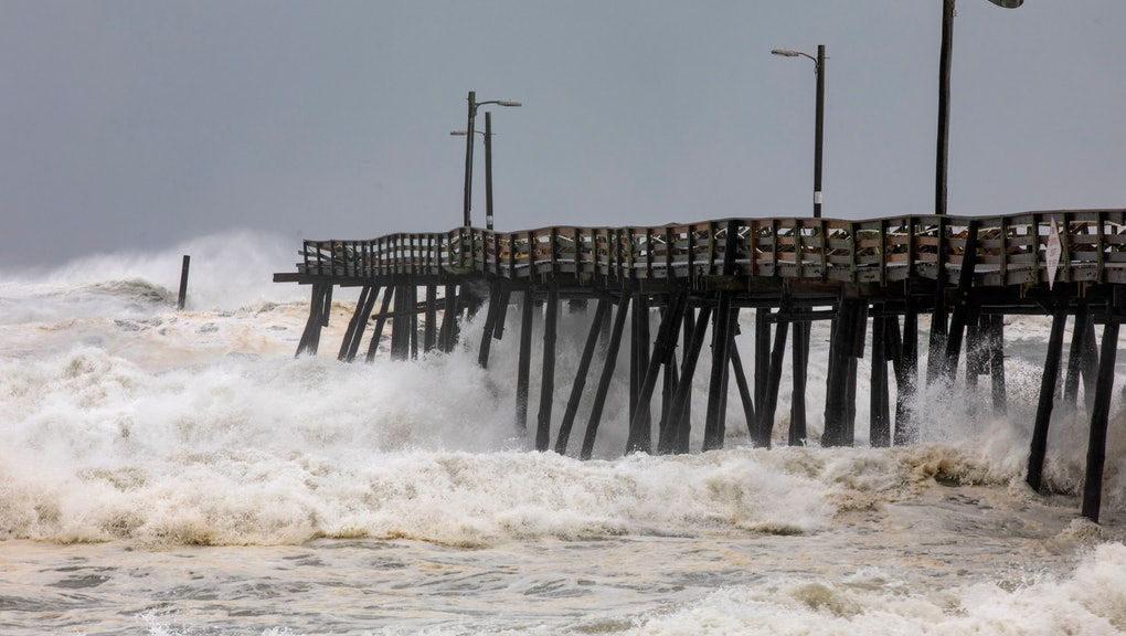 Waves from the Atlantic Ocean destroyed the far end of the Nags Head Fishing Pier as Hurricane Dorian struck Nags Head, North Carolina, USA, 06 September 2019. The Category 1 storm struck the state's fragile barrier islands, the Outer Banks, for much of the day.