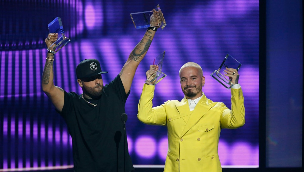 "Nicky Jam, J Balvin. Nicky Jam, left, and J Balvin accept the award for airplay song of the year for ""X"" at the Billboard Latin Music Awards, at the Mandalay Bay Events Center in Las Vegas"