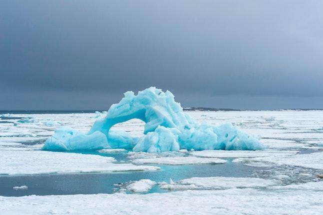 Blue Iceberg, Bjornsundet, Hinlopen Strait, Spitsbergen Island, Svalbard Archipelago, Norway