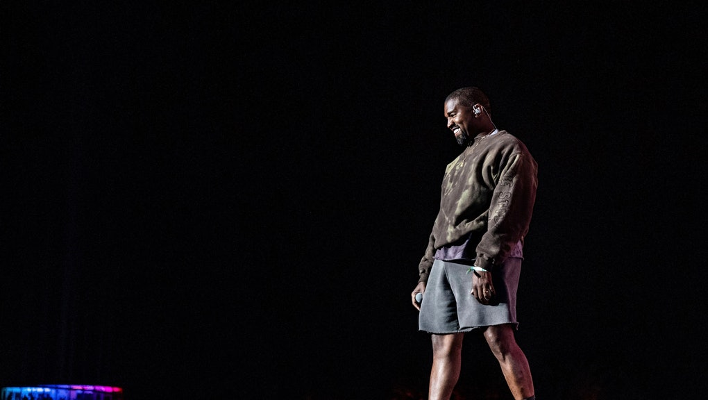 Kanye West performs with Kid Cudi at the Coachella Music & Arts Festival at the Empire Polo Club, in Indio, Calif