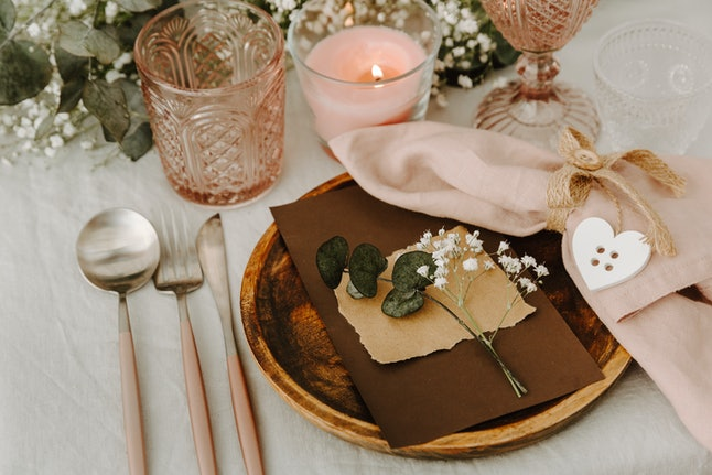 Rustic festive table in wedding banquet with decorations