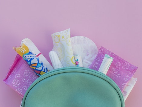 Hygiene products in toilet kit