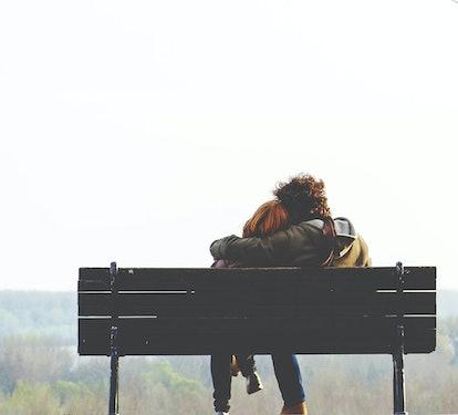 Romantic couple on bench