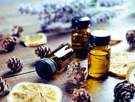 Aromatherapy tools, bottles with oil