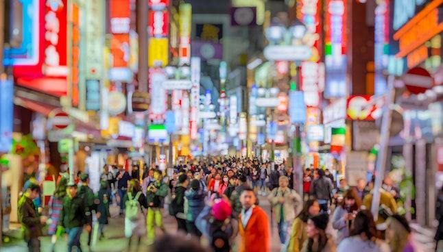 Bokeh of Shibuya Shopping Street, Japanese trade and investment, Asia economy