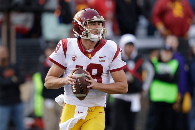 Southern Cal quarterback Matt Fink in action against Washington in an NCAA college football game, in...
