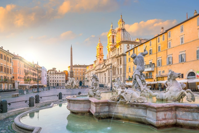 Piazza Navona in Rome, Italy at twilight