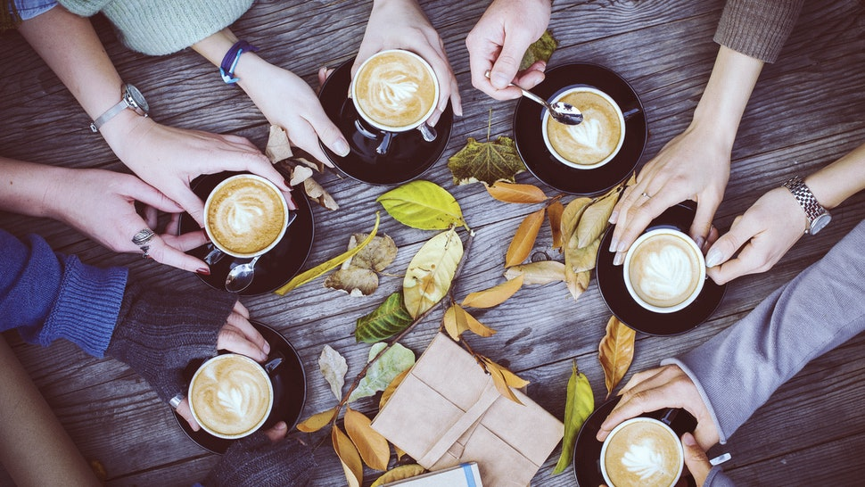 Group of friends with coffee cups