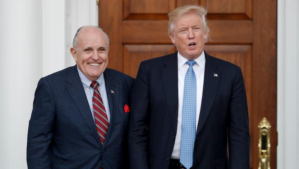 Donald Trump, Rudy Giuliani President-elect Donald Trump, right, and former New York Mayor Rudy Giul...