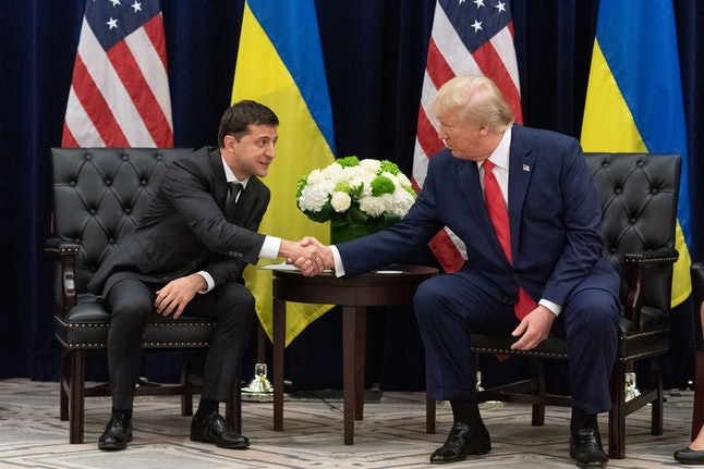 A handout photo made available by Ukraine Presidential Press Service shows Ukraine's President Volod...