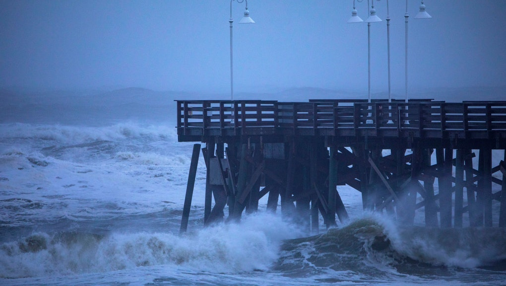 Waves strike the Main Street Pier as Hurricane Dorian passes 90 miles offshore in Daytona Beach, Florida, USA, 04 September 2019. Hurricane Dorian, a Category 2 storm that was expected to hammer Florida largely spared the state.