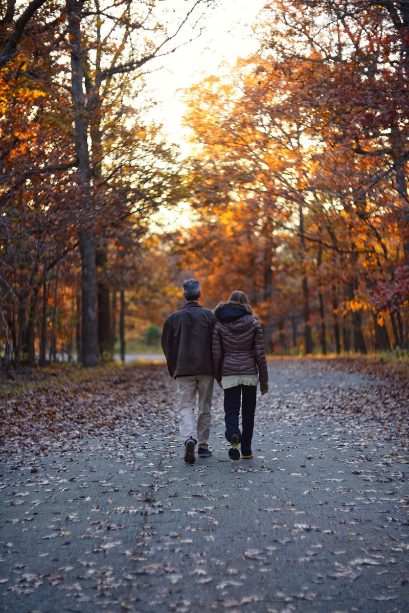 Romantic couple on fall background