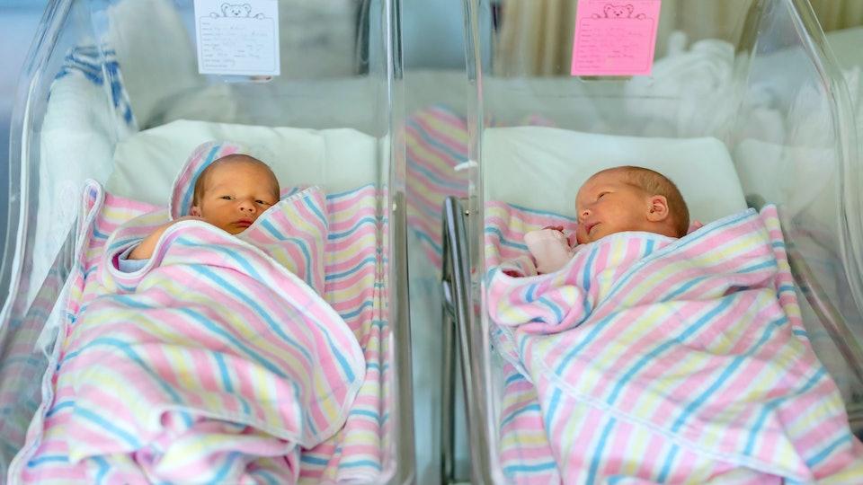 newborn twins boy and girl in hospital under blankets